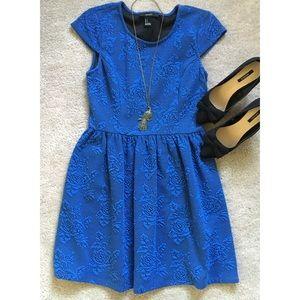 Floral Royal Blue Fit & Flare Skater Dress